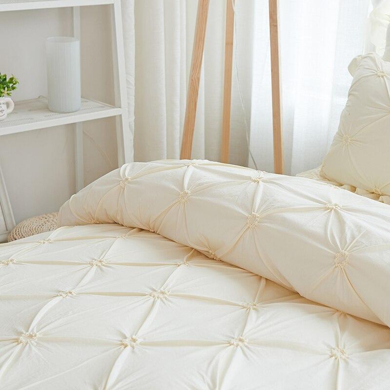 4/6pcs Hand-made Princess Quilt/Duvet Cover Wedding 100% Cotton Ruffles Bedspread Bed Skirts Bedclothes Bedding Sets Beige/Blue