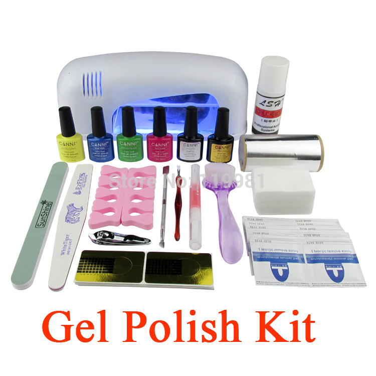 Gel Polish Set Soak Off Led Uv Gel Kit Uv 9w Curing Lamp