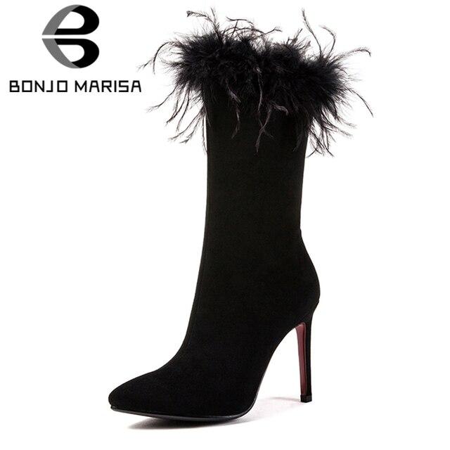 BONJOMARISA Phụ Nữ Slim Mid-bê Thời Trang Khởi Động Sexy Cao Gót Nhọn Giày Chân Người Phụ Nữ Mùa Thu Mùa Đông Bên Lông Đám Cưới giày