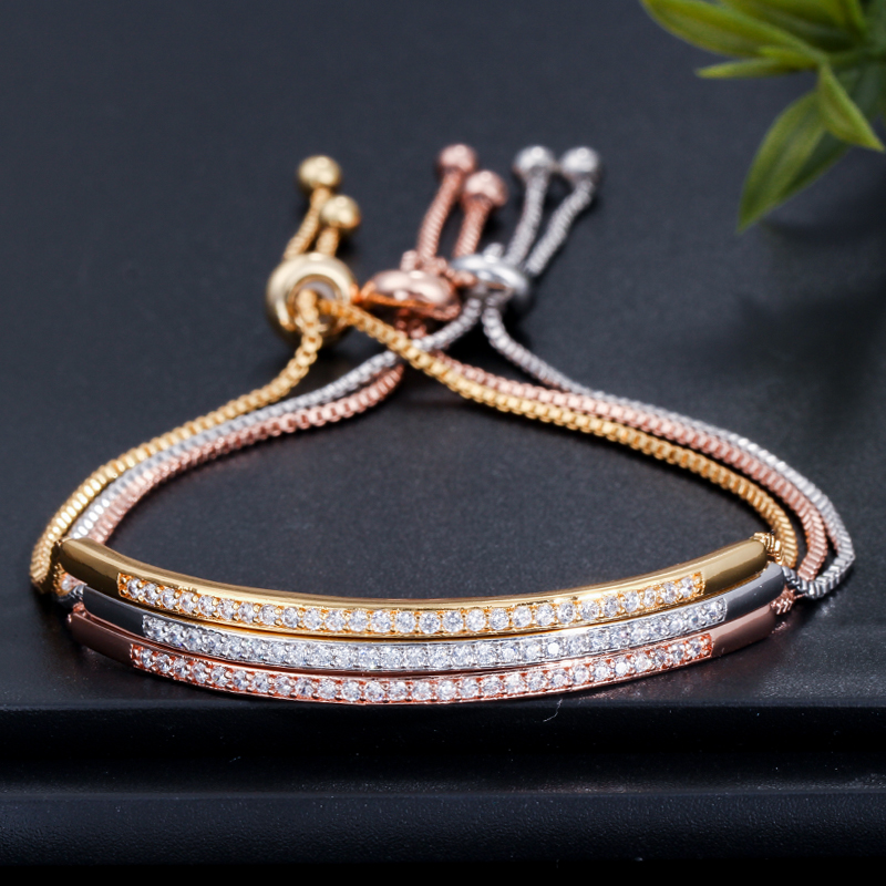 CWWZircons Adjustable Bracelet Bangle for Women Captivate Bar Slider Brilliant CZ Rose Gold Color Jewelry Pulseira Feminia CB089 9
