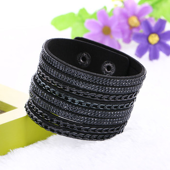 New Hot Sale 6 Colors Layer Leather Bracelet Charm Bracelets Bangles For Women Buttons Adjust Size