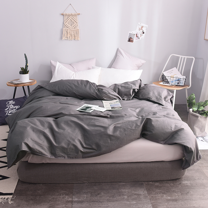 100% Cotton European Style Dark Gray Solid Color Duvet Cover 220x240cm Size  Quilt Case  Duvet Covers Super King Size Bedspreads100% Cotton European Style Dark Gray Solid Color Duvet Cover 220x240cm Size  Quilt Case  Duvet Covers Super King Size Bedspreads