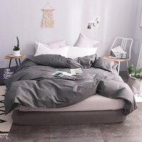 100% Cotton European Style Dark Gray Solid Color Duvet Cover 220x240cm Size Quilt Case Duvet Covers Super King Size Bedspreads