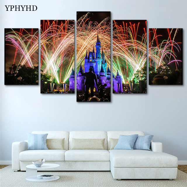 YPHYHD Modern Home Decor Frame Poster 5 Piece Family Christmas Decoration Drawing Disneyland Fireworks Wall Art