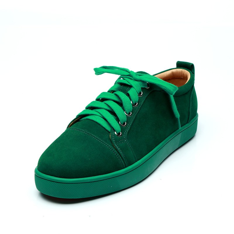 SHOOEGLE Plus Size39 47 Chaussures Hommes Men Green Suede Sneaker Lace up Flat Low Top Shoes Men Runway High Quality Shoes - 2