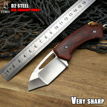 LCM66 D2 cuchillo plegable de acero, cuchillos de supervivencia de madera de sombra roja, Mini cuchillo de bolsillo de rescate muy afilado, utensilios con cuchillas de llave de regalo