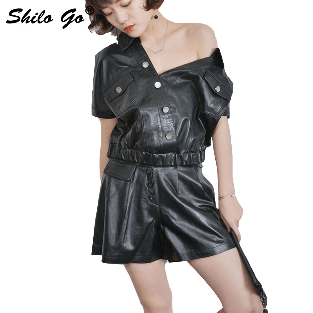 SHILO GO Leather Shorts Womens Spring Fashion Sheepskin Genuine Leather Shorts Rivet Metal Belt Single Breasted Wide Leg Shorts