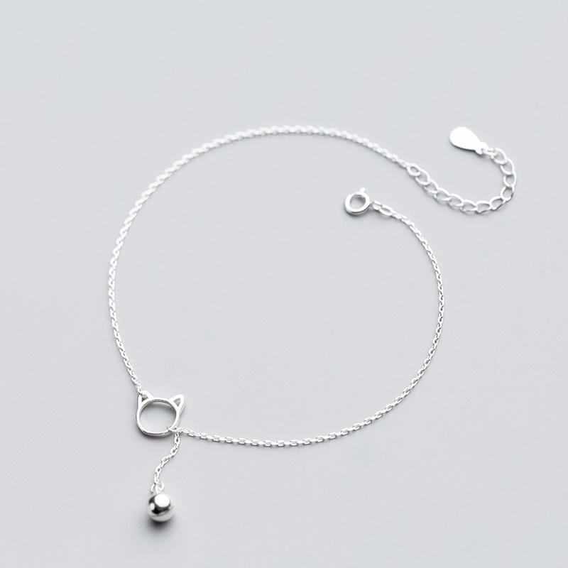 MloveAcc New Arrivals 925 Sterling Silver Tassel Cat Bell Charm Anklets Fashion Anklet for Women sterling-silver-jewelry