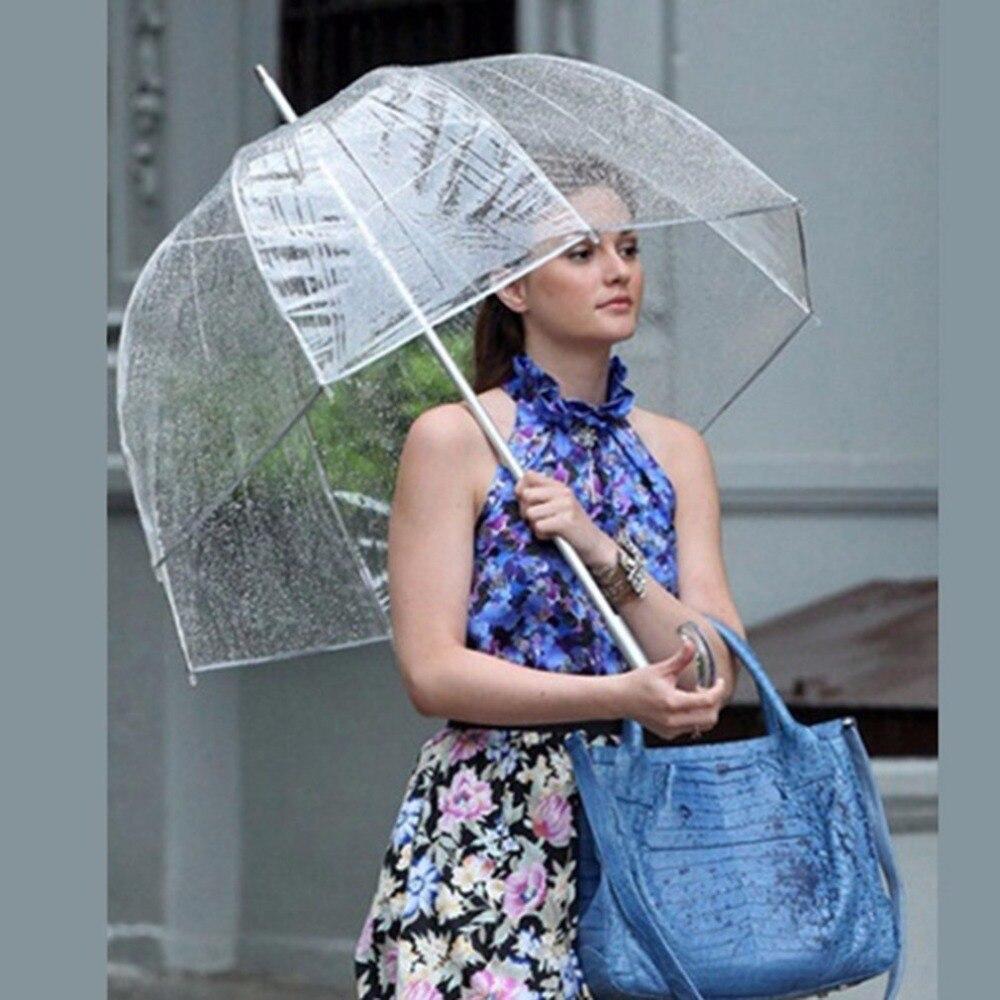 Durable Transparent Langen Griff Frauen Regenschirm Halbautomatische Tragbare Größe Mädchen Sunny Rainy Polyester Regenschirm Heiße Neue