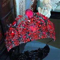 Vintage Crystal Baroque Queen Bridal Tiara Crown Headbands Women Diadem Hair Ornaments Wedding Bride Hair Jewelry Accessories