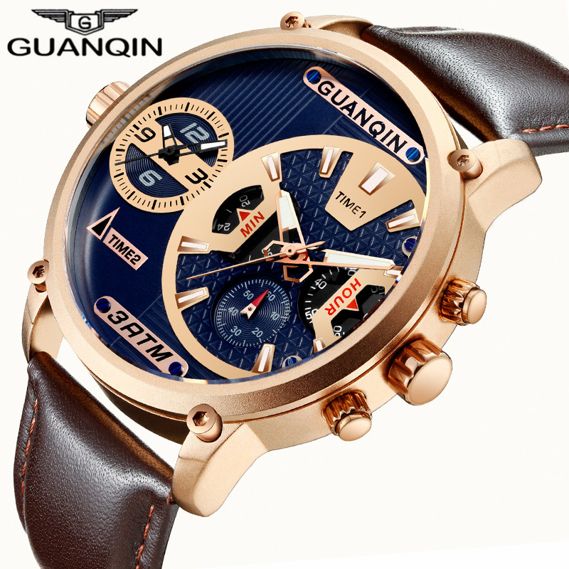 relogio masculino GUANQIN Luxury Mens Sport Multiple Time Zone Multifunction Quartz Watch Classic Men Retro Leather Wristwatch 247 classic leather