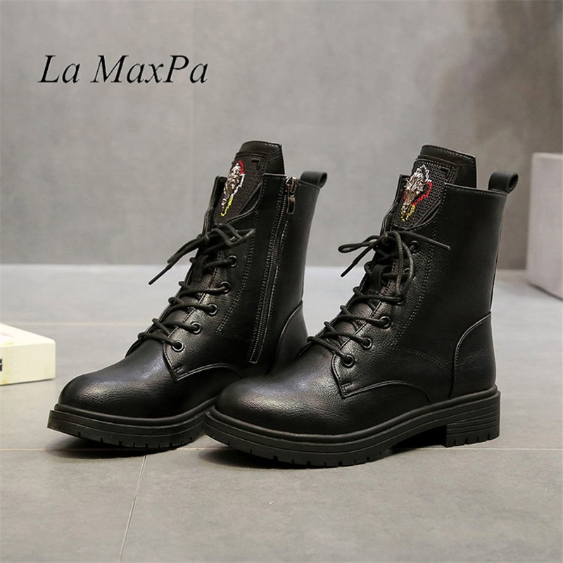 Autumn And Winter Platform Ankle Boots Women Lace Up Thick Heel Martin Boot Ladies Buckle Heels Shoes Size 35-40 Casual Ladies цена