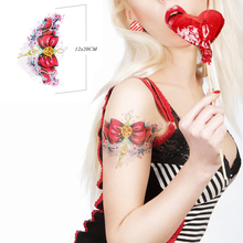 Fashion Body Art Beauty Makeup Red Bow Waterproof Temporary Tattoo Stickers Sexy Products Arm Tattoos