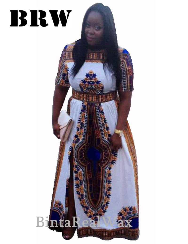 African Print Dresses Dashiki Women Bazin Femme Party Dress Plus ...