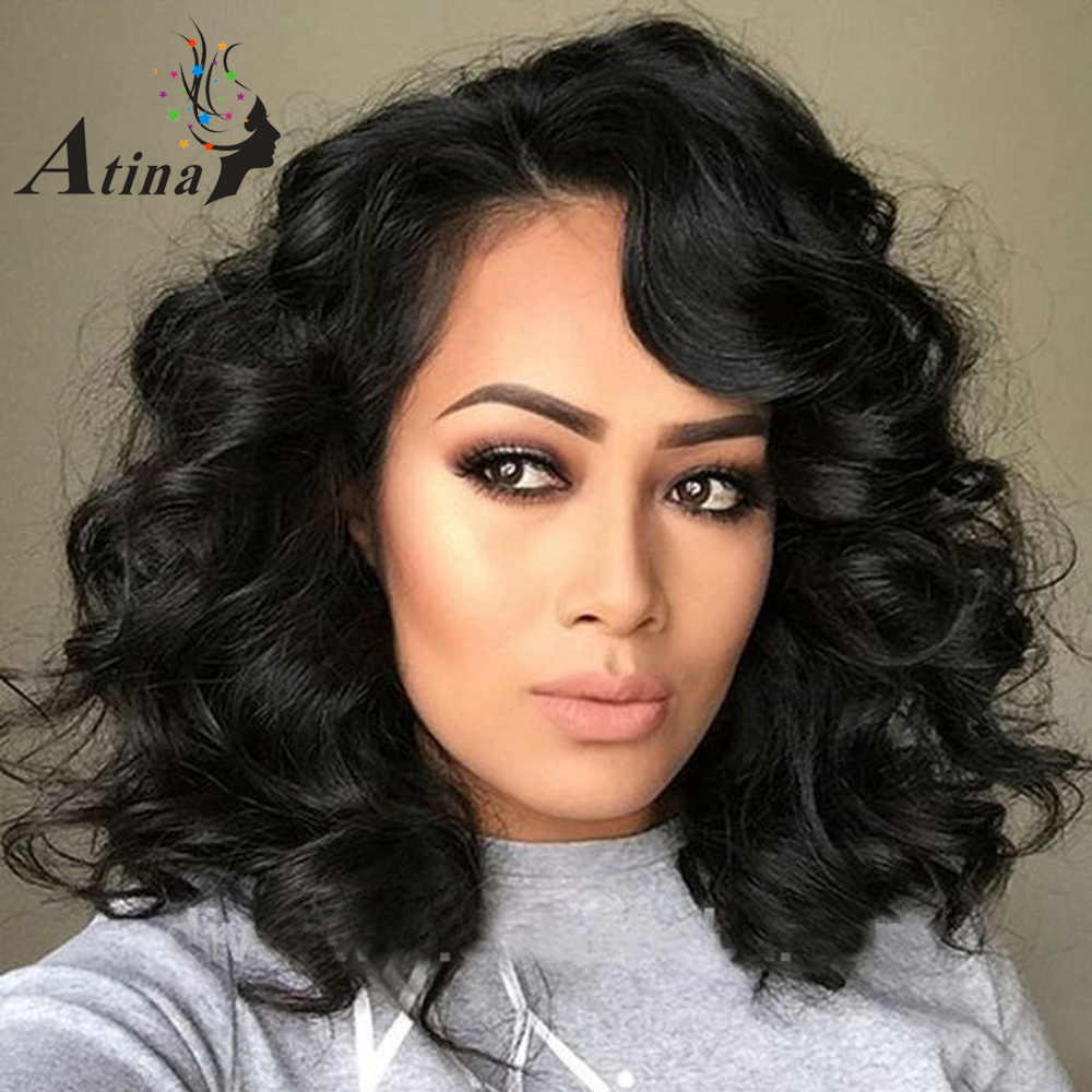 Short Wavy Human Hair Full Lace Wigs 250 Density Remy