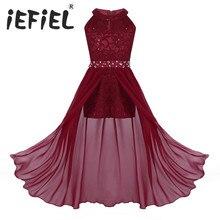 IEFiEL vestido de princesa de tul para niña, bordado de lentejuelas, encaje Floral, flor de Gasa, boda, fiesta de cumpleaños, vestido Formal, 2020