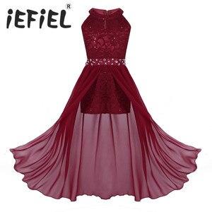 Image 1 - IEFiEL vestido de princesa de tul para niña, bordado de lentejuelas, encaje Floral, flor de Gasa, boda, fiesta de cumpleaños, vestido Formal, 2020