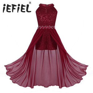 Image 1 - iEFiEL Kids Summer 2020 Sequined Embroidery Floral Lace Chiffon Flower Tulle Dress Princess Wedding Birthday Party Formal Dress