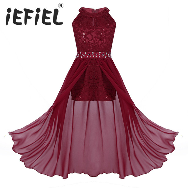 iEFiEL Kids Summer 2020 Sequined Embroidery Floral Lace Chiffon Flower Tulle Dress Princess Wedding Birthday Party Formal Dress