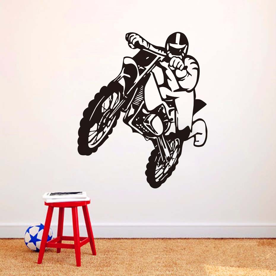 sauts moto stickers muraux motocross maison decoratioin vinyle amovible de papier peint affiche. Black Bedroom Furniture Sets. Home Design Ideas