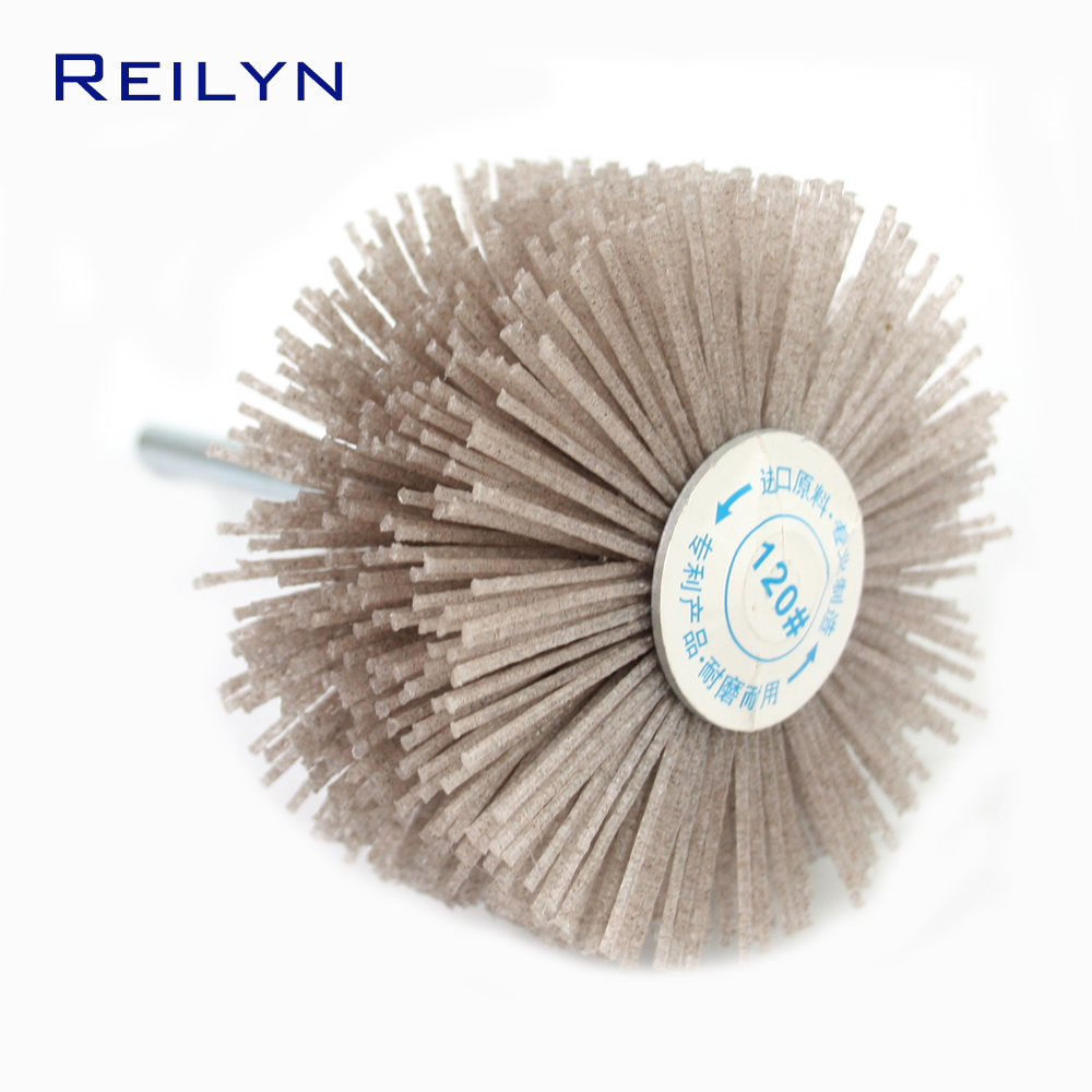 Dunpont Fiber Brush Nylon Polishing Disc Dunpont Mop Wheel Polishing Roller Shank 6mm For Electric Hand Drill Rotary Tools