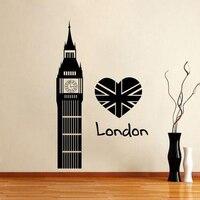무료 배송 런던 장면 심장 벽 스티커 비닐 데칼 좋아요 런던 영국 영국 빅 벤 45X22 인치