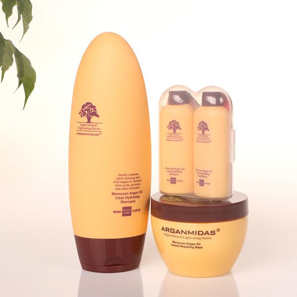 Regalos de navidad 450 MLhair champú de aceite de Argán Marroquí + 300 MLHair máscara + mini pelo champú y acondicionador de pelo de reparación producto