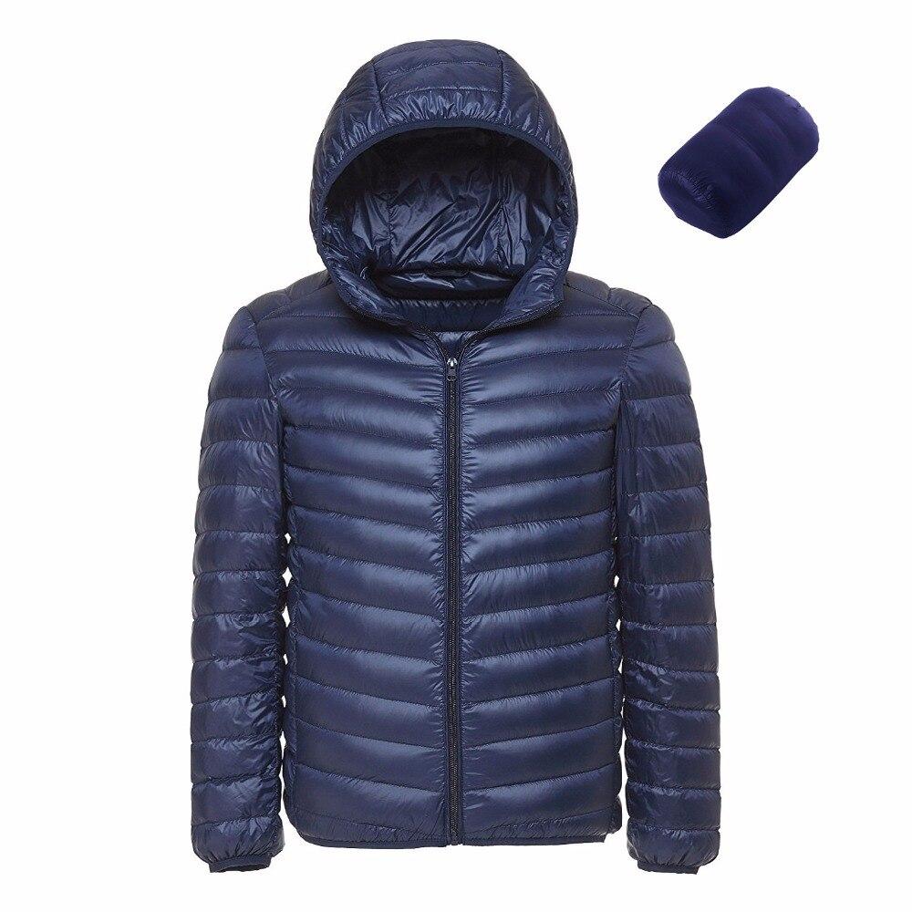 2019 Men Hooded UltraLight White Duck Down Jacket Warm Jacket Line Portable Package Men Pack Jacket