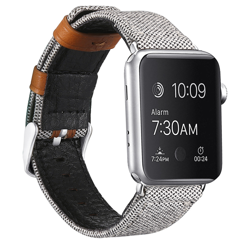 Watch Accessories Watchbands For Apple Watch Band Canvas Pattern 38mm 40mm 42mm 44mm Watch Strap For iwatch Series 4 3 2 1#E