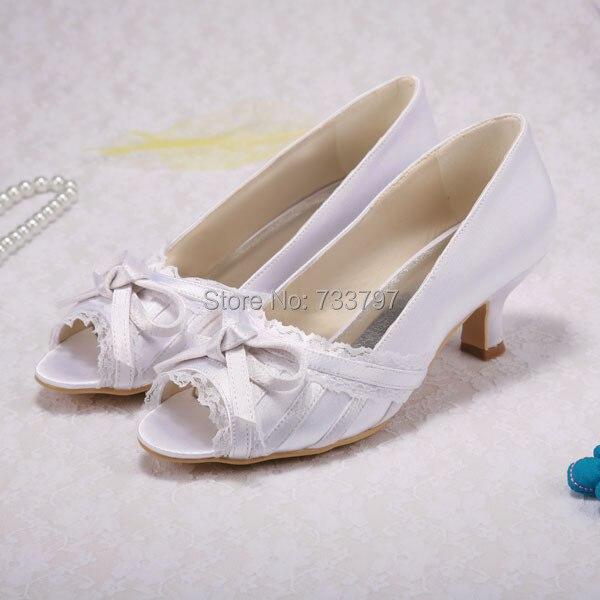 Custom Handmade Women Custom Wedding Shoes Medium Heels Bow Peep Toe