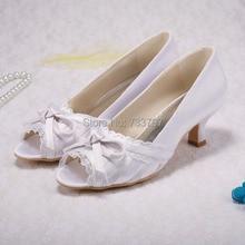Пользовательские ручной женщин пользовательских свадебное средний каблуках с бантом пип-ноги