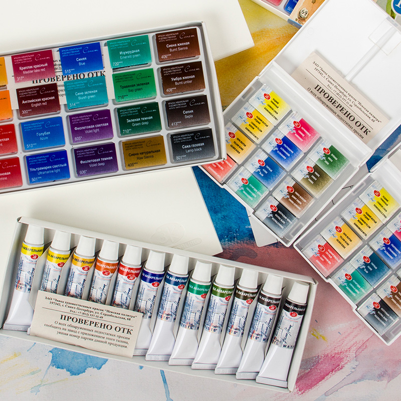 Russian White Night Solid Watercolor Paint Transparent Student Grade Beginner Hand Painted 36 Colors Artists Gouache WatercolorRussian White Night Solid Watercolor Paint Transparent Student Grade Beginner Hand Painted 36 Colors Artists Gouache Watercolor