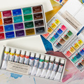 Russian White Night Solid Watercolor Paint Transparent Student Grade Beginner Hand Painted 36 Colors Artists Gouache Watercolor