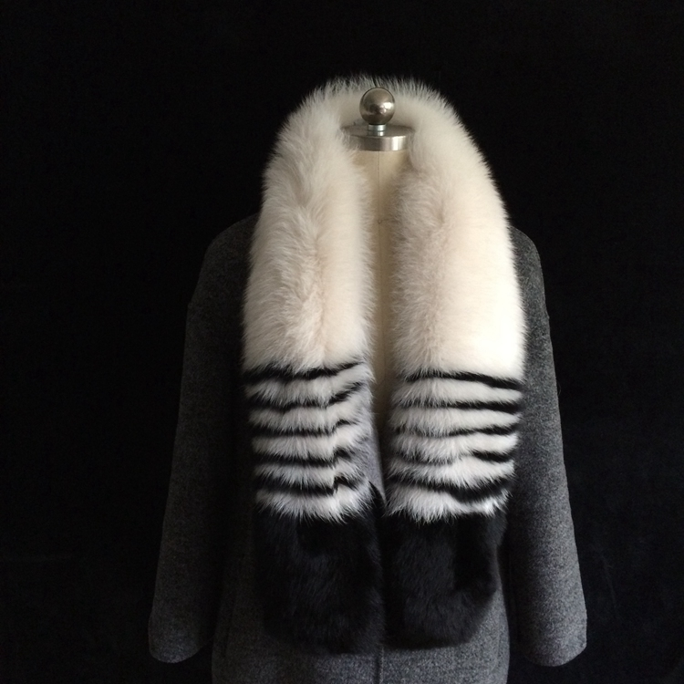 New arrival long BOA real fox fur striped grey black scarf patchwork elegant nice muffler genuine fox fur scarves for women