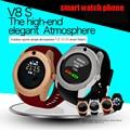 2017 nuevo smart watch teléfono v8 notificador sim soporte de tarjeta tf bluetooth smartwatch sincronización de reloj se divierte el reloj para android ios
