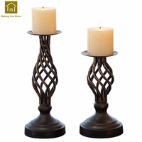 Large Vintage Wrought Iron Glass Candelabra Holders Wedding Romantic Candlestick Candle Holder Retro Decorative Products WKL034
