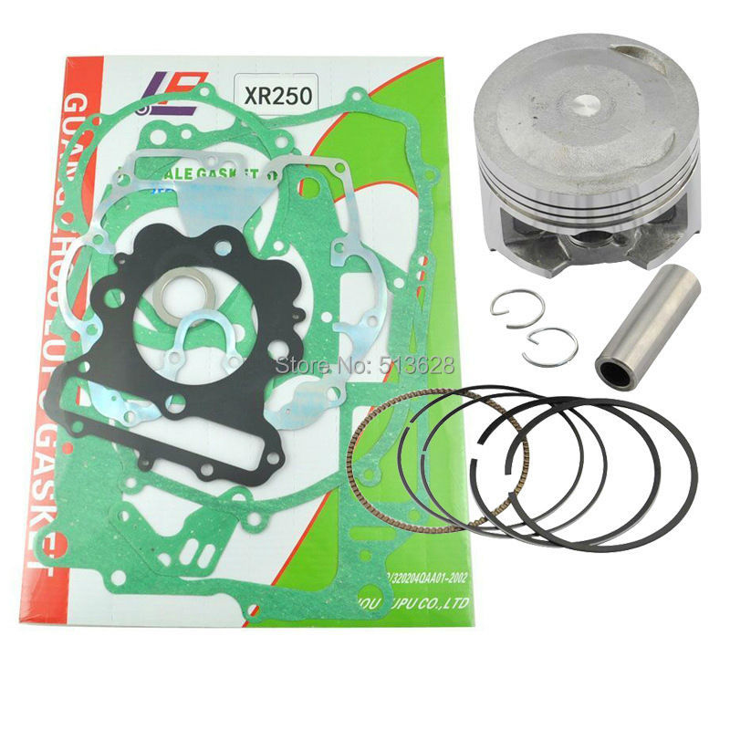 ФОТО For Honda XR250 73mm Standard Bore Piston Kit Ring Pin Clips & Engine Cylinder Crankcase Cover Gasket Set