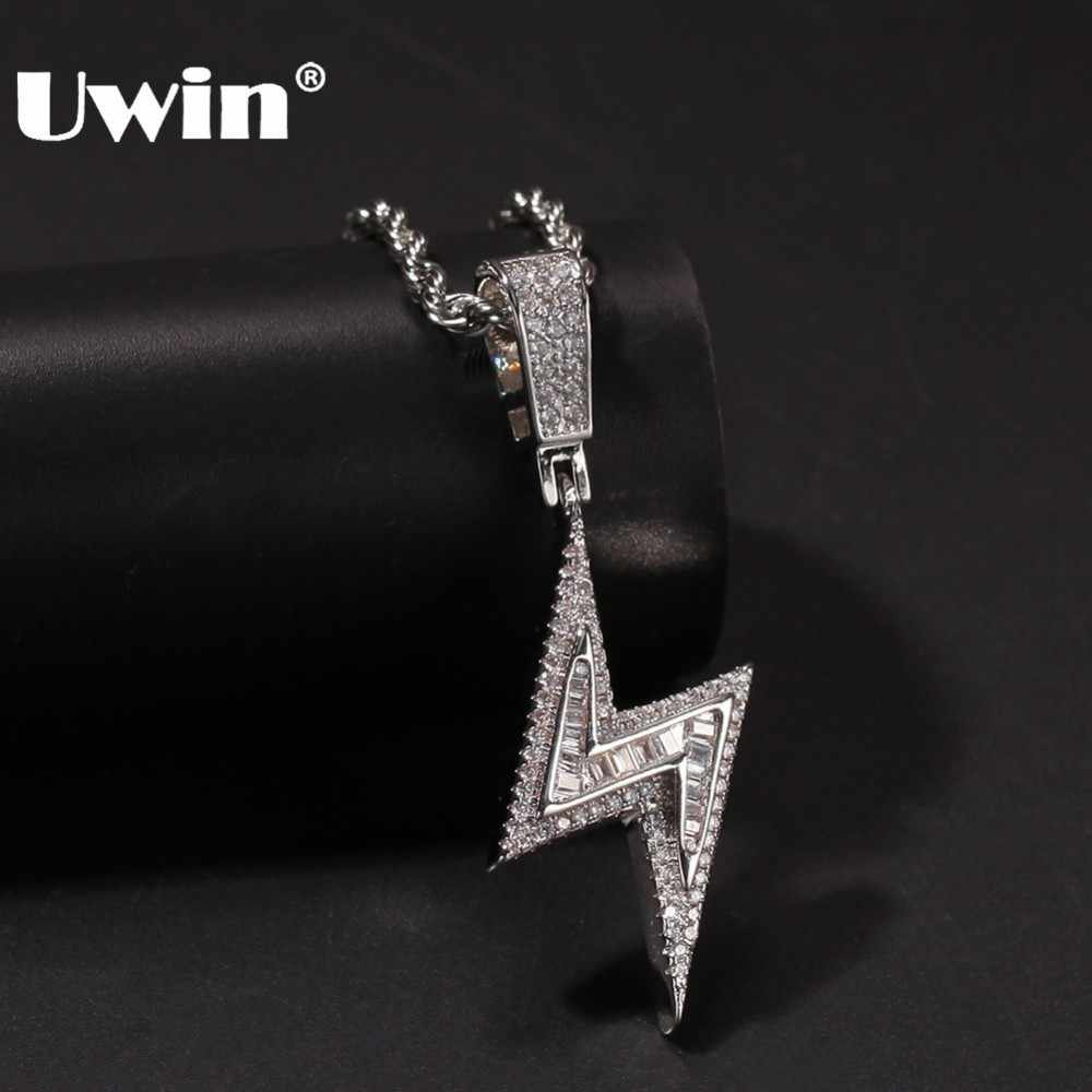 UWIN Silver Color Iced Bolt Necklaces Fashion CZ Pendant Lightning Pendants Jewelry Mens Fashion Hiphop Chains Drop Shipping
