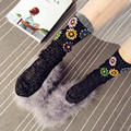 2016 European Handmade Rhinestones Flower Socks Christmas Gift Warm Knit Women Winter Harajuku Socks Women Pile Socks