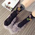 2016 Europeu Handmade Strass Flor Meias de Presente de Natal Mulheres Inverno Quente Knit Harajuku Meias Mulheres Meias Pilha