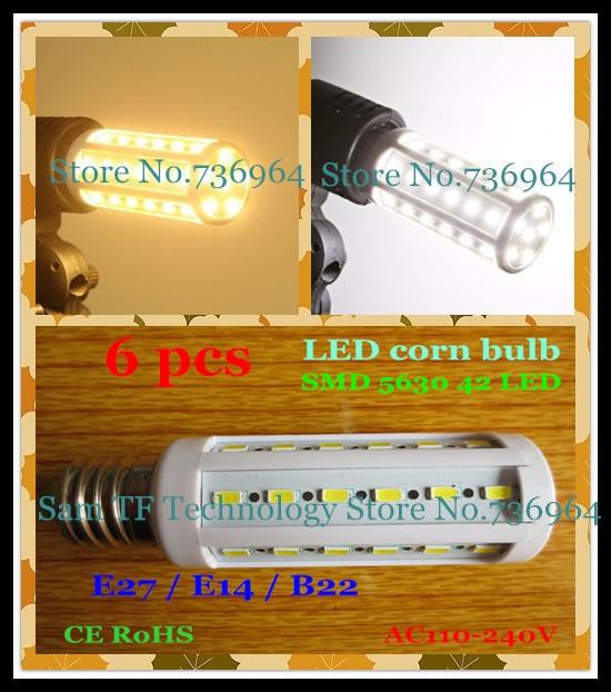 Free shipping 6 pcs SMD 5630 42 LED 12W E27 E14 B22 Corn Bulb Light Maize Lamp LED light LED Lamp LED Lighting Warm/Cool White