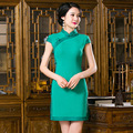 Spring Summer Elegant Green Short Sleeve Silk Cheongsams Fashion Retro Chinese style Qipao FMS350
