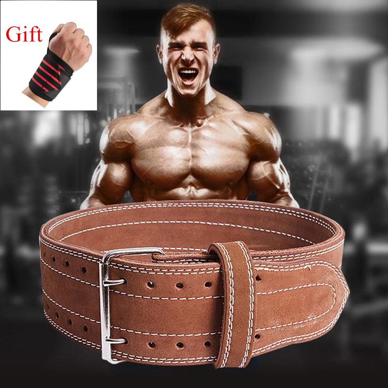 Professional Cowhide Weightlifting Belt Barbell Training Gym Leather Lumbar Belt Bodybuilding Fitness Workout Back Protector