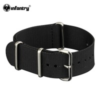 Infantry Army Nato G10 Black 20mm Nylon Silver 4 Rings Watch Straps Band New