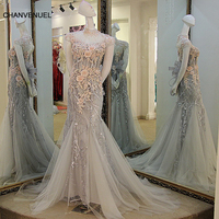 LS12890 Elegant Evening Dresses Long 2017 Lace Up Back Short Sleeves High Neck Beaded Lace Mermaid
