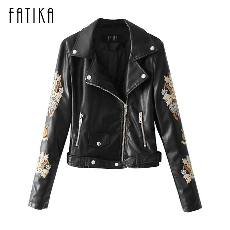 FATIKA 2017 New Autumn Winter Women Fashion Embroidery Jacket Coats Ladies Zipper Motorcycle Faux   Leather   Jackets Outwear Coats