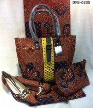Hohe qualität Afrikanische hollandia Wachs und Tasche set, schöne Drucke wachs passenden wachs tasche und Schuhe für hochzeit DFB-023, DFB-023S