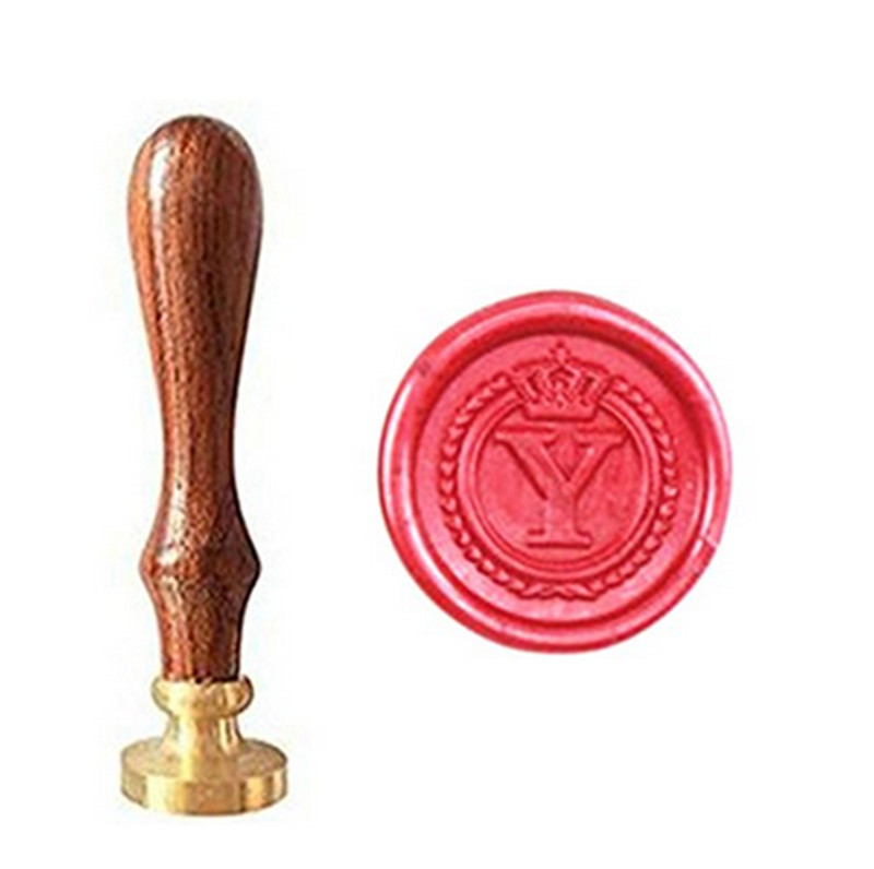 все цены на MDLG Vintage Alphabet Letter Y Crown Wedding Invitations Gift Cards Wax Seal Stamp Stationary Sealing Wax Stamp Wood Handel Set онлайн