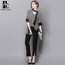 spring summer runway designer womans clothing set black white strip asymmetric shirt black tie beading pants fashion office suit