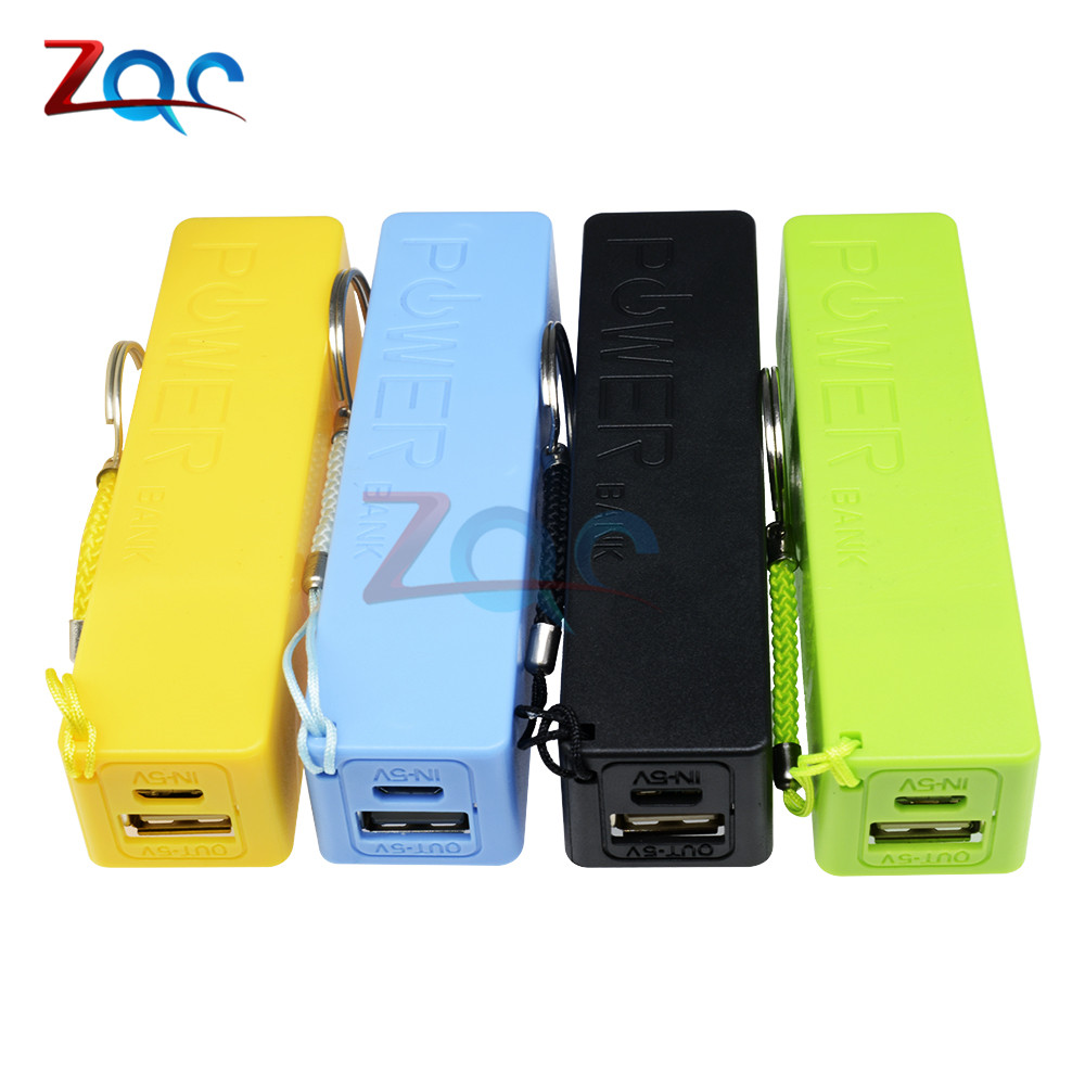 New Portable Power Bank 18650 External Backup Battery Charger With Key Chain Green Black Yellow Blue 3